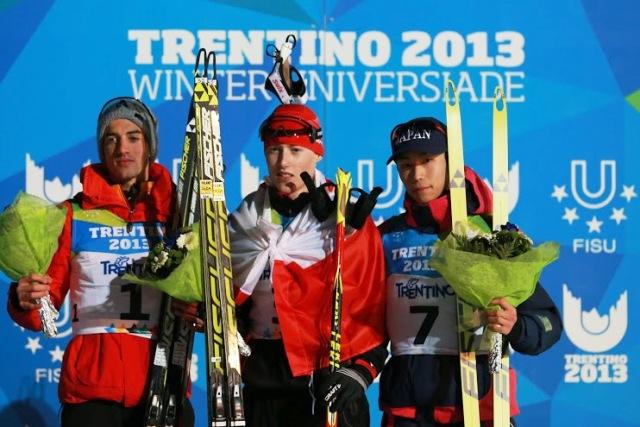 Adam Cieslar of Poland (centre) proved the main man in Predazzo today ©Pierre Teyssot/Trentino 2013 Universiade