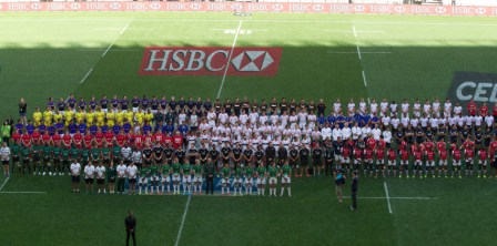 All 16 competing nations met inside the Nelson Mandela Stadium to honour the former South African President who passed away last week ©IRB