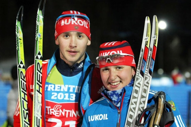 Ermil Vokuev and Evgeniia Oschepkova completed another big gold medal haul for Russia with victory in the cross-country mixed team competition ©Pierre Teyssot/Trentino 2013 Universiade