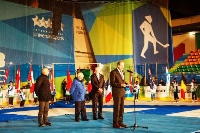 FISU President Claude-Louis Gallien addresses the crowd at the Trentino 2013 Winter Universiade Closing Ceremony ©Alice RussoloTrentino 2013 Universiade