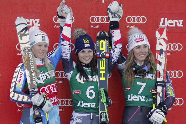 Fenninger (centre) wins the giant slalom event on the exact same date for the third successive year ©Getty Images