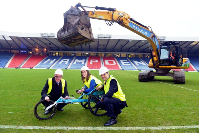 Glasgow 2014 organisers have begun the transformation of Hampden Park for next year ©Glasgow2014