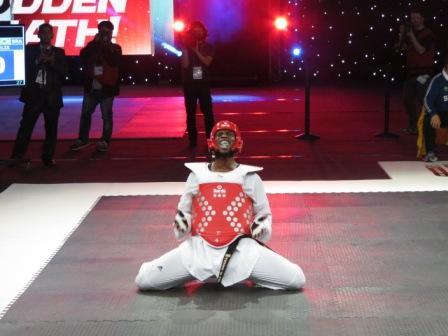 Great Britain's Mahama Cho wins gold at the inaugural World Taekwondo Grand Prix in Manchester ©Paul Osborne/ITG