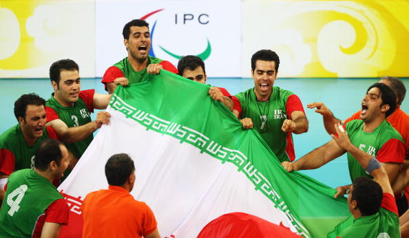 Iran celebrate a sitting volleyball gold medal at Beijing 2008...their Paralympic programme has since enjoyed vast improvements ©Getty Images