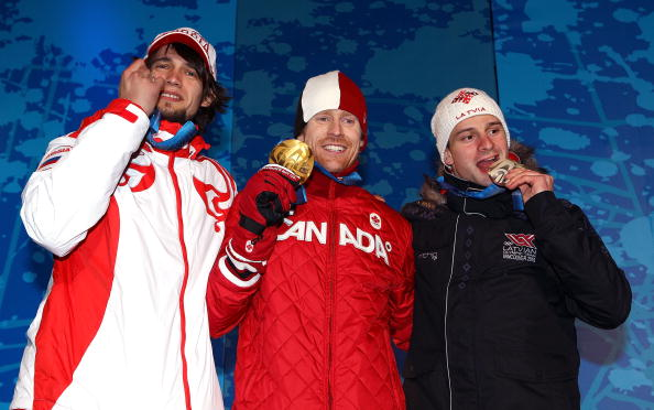 Jon Montgomery celebrates his gold medal at the Vancouver 2010 Games ©Getty Images