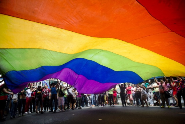Laws passed in Russia this year ban all gay pride rallies © AFP/Getty Images