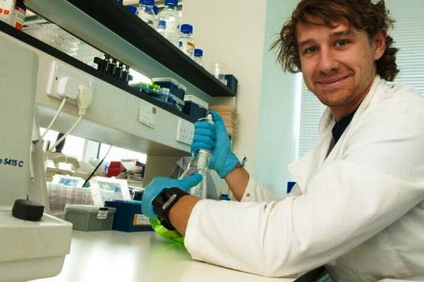 Luke Piggott has been carrying out some pioneering work in the treatment and prevention of breast cancer at Cardiff University ©Wales News Service