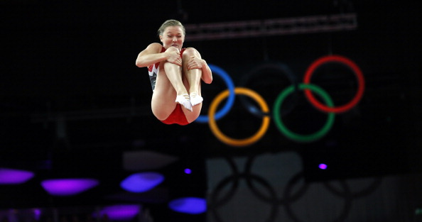 MacLennan tucks and somersaults her way to Canada's only gold medal at London 2012 ©AFP/Getty Images