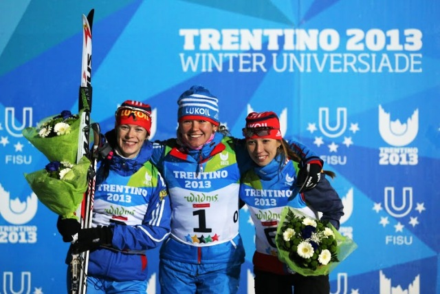 Smiling Russian faces tell of a dominant display in Lago di Tesero with a clean-sweep in the women's cross-country sprint race ©Pierre Tyssot/Trentino 2013 Universiade