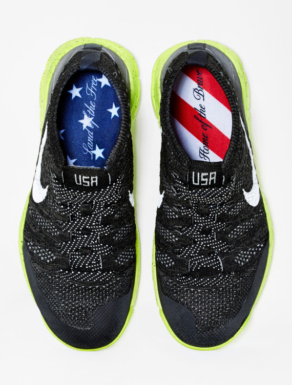 The Flyknit Trainer Chukka FSB shoes are inscribed with patriotic messages over the famous stars and stripes of the US flag ©Nike Inc