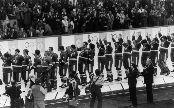 The Soviet Union celebrate after defeating Czechoslovakia to win the men's title at the 1984 Olympic Ice Hockey competition in Sarajevo ©AFP/Getty Images