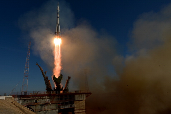The rocket carrying the Olympic Torch takes off for the International Space Centre as the Torch Relay reaches new heights ©AFP / Getty Images