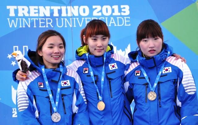 The women's 500m race saw an all South Korean podium in Baselga di Pinè ©Trentino 2013 Universiade