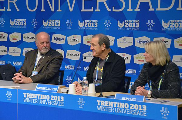 Trentino 2013 President Sergio Anesi, FISU President Claude-Louis Gallien and FISU executive committee member Kairis Ulp address the head of delegates meeting ©C Pierre/FISU