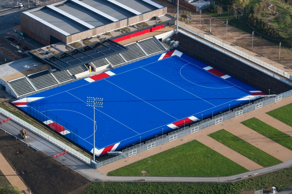 Two new hockey pitches featuring a Union Jack inspired design have been revealed at the Lee Valley Hockey and Tennis Centre ©London Legacy Development Corporation