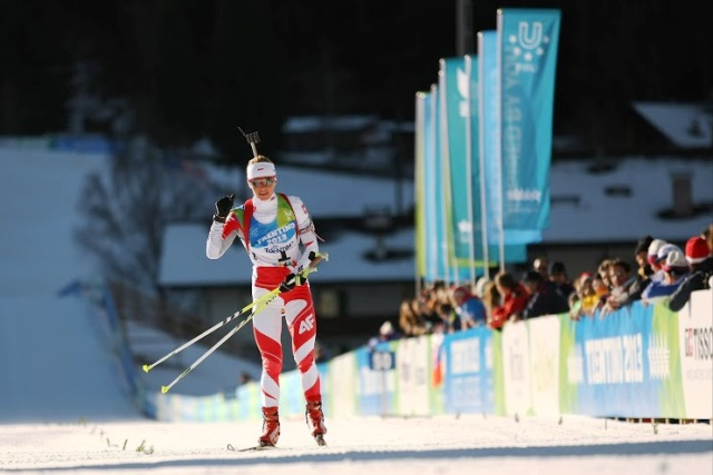 Weronika Nowakowska-Ziemniak of Poland secured her second biathlon gold medal at Trentino 2013 ©Pierre Teyssot/Trentino 2013 Universiade