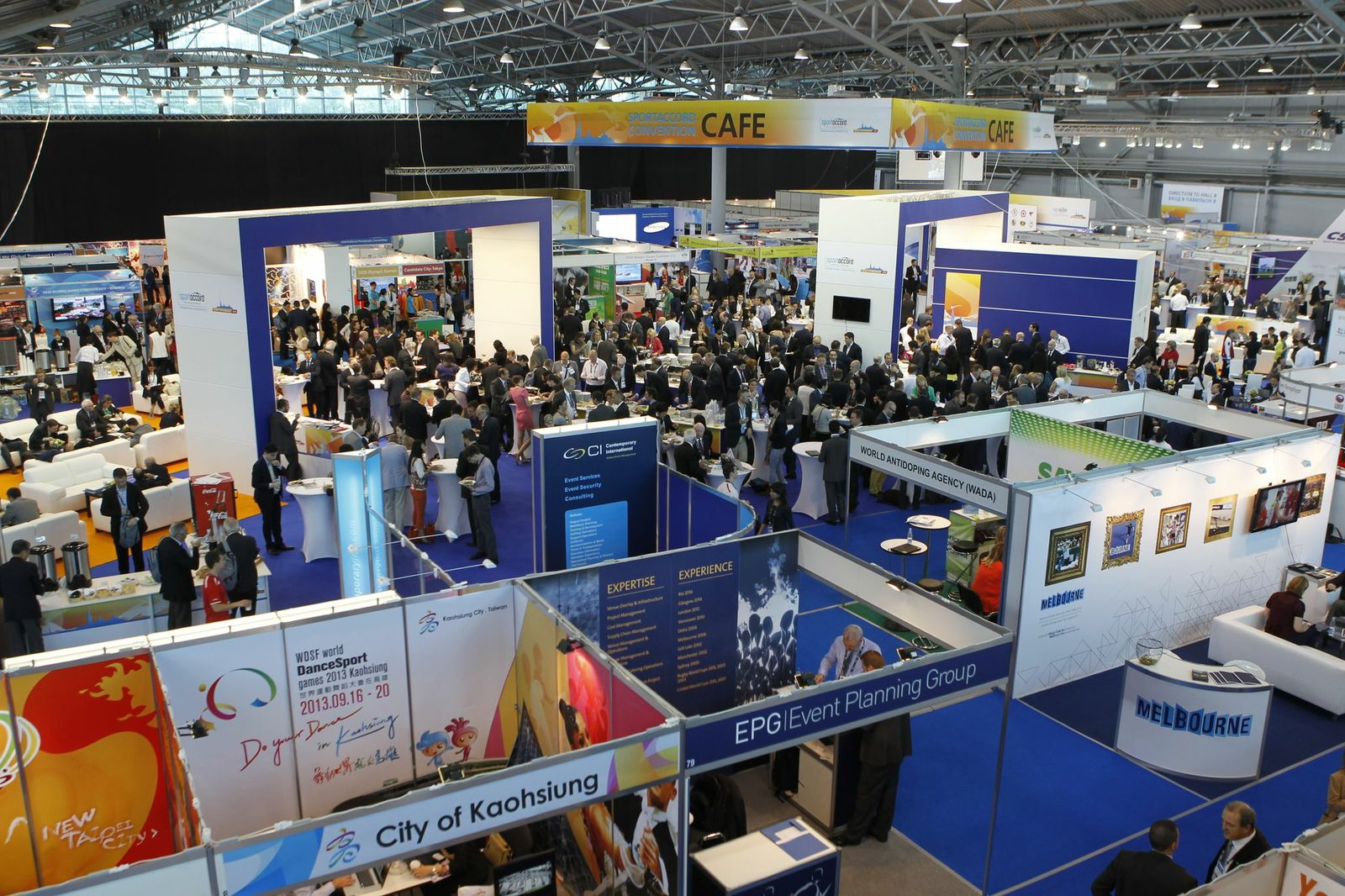The exhibition hall during the 2013 SportAccord International Convention in Saint Petersburg, Russia