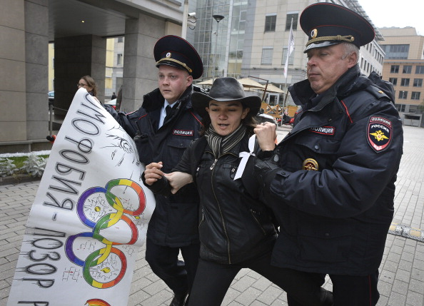 Russian police have cracked down on protests against the country's controversial anti-gay propaganda law, breaking up a demonstration outside Sochi 2014 headquarters in Moscow in September ©AFP/Getty images