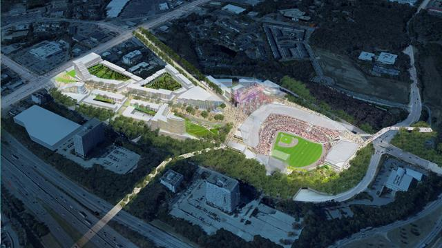 A rendering of the proposed complex that the Atlanta Braves plan to move to in 2017 after quitting Turner Field ©Atlanta Braves