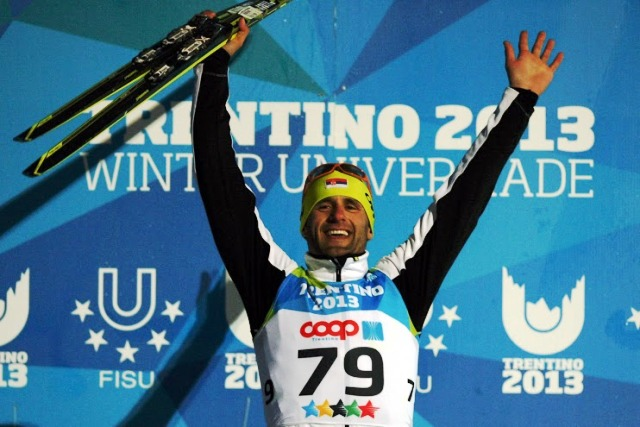 Milanko Petrovic celebrates his second gold and third medal overall at Trentino 2013 ©Pierre Teyssot/Trentino 2013 Universiade