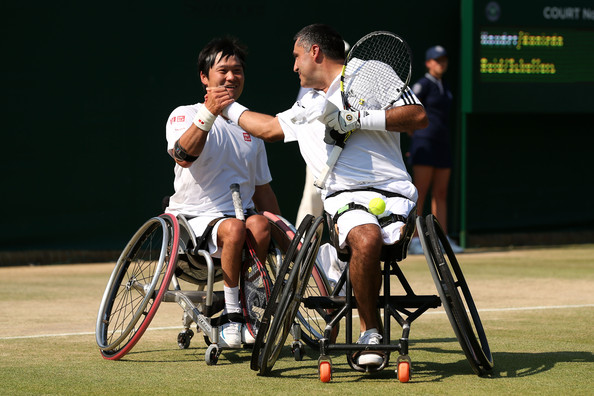 Stephane Houdet and Shingo Kunieda Wimbledon 2013 Getty Images