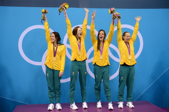 The women's 4x100m relay team all received an OAM after winning Australia's only gold in the pool at the 2012 Olympic Games ©Getty Images