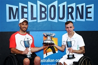 David Wagner and Andy Lapthorne pose with their Australian Wheelchair Open title ©Getty Images