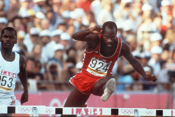 Edwin Moses won the second of his two Olympic gold medals at Los Angeles 1984 ©AFP/Getty Images