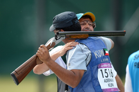 Fehaid Aldeehani celebrates winning a bronze medal for Kuwait in the men's shooting during London 2012 ©Getty Images