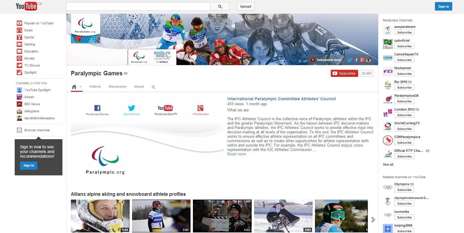 Following each day of competition, all the action and highlights packages will be made available on the IPC's YouTube channel ©YouTube