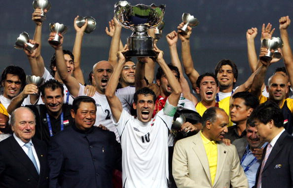 Iraq celebrate their shock victory at the 2007 Asia Cup in Jakarta ©Getty Images