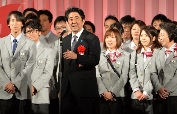 Japanese Prime Minister Shinzo Abe delivers a speech during the send-off ceremony for Japan's Winter Olympic delegation ©AFP/Getty Images