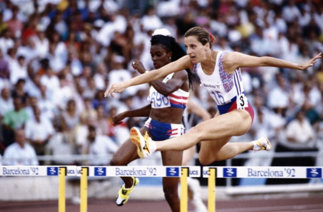 Sally Gunnell powered her way to Olympic glory at Barcelona 1992 ©Getty Images