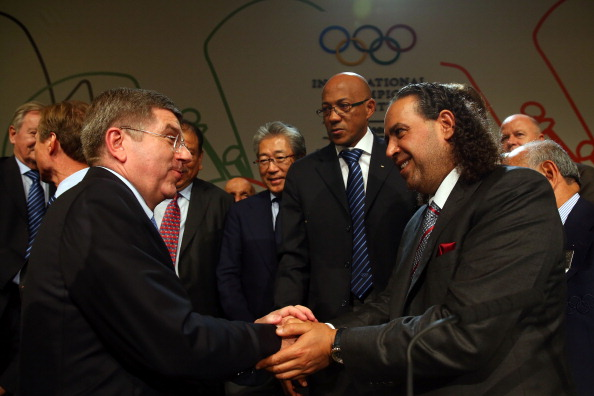 Sheikh Ahmad, pictured congratulating new IOC President Thomas Bach, will orchestrate the two days of events ©Getty Images