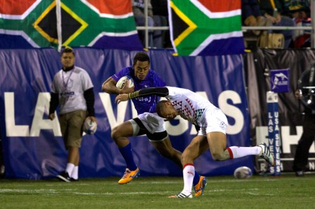 South Africa won their opening two games of the USA Rugby Sevens tournament without conceding a point ©IRB/Martin Seras Lima