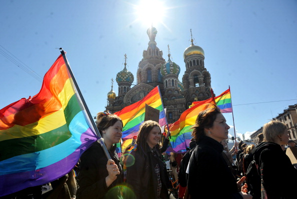 There have been anti gay rights protests in Russia, as well as in the rest of the world, following the laws introduced last year ©AFP/Getty Images