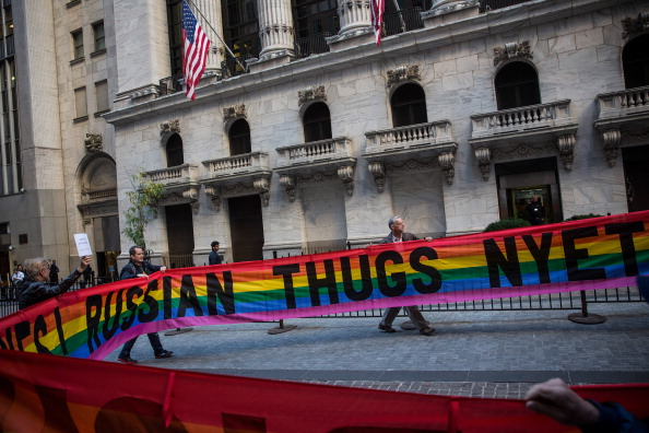 There have been many international protests against the ban on Pride Houses, such as this one in New York late last year ©Getty Images