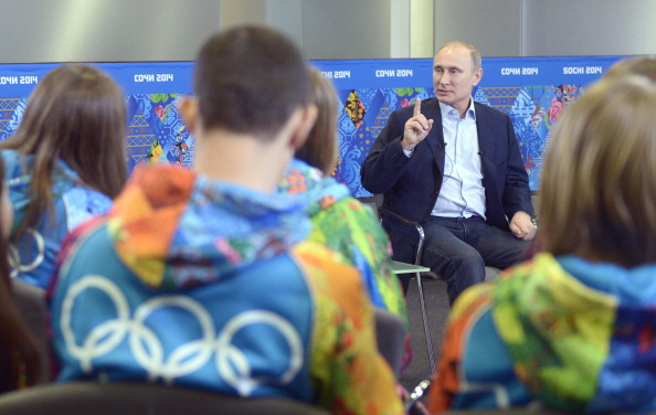 Vladimir Putin spoke to some of the Sochi 2014 volunteers at the Olympic Park ©AFP/Getty Images