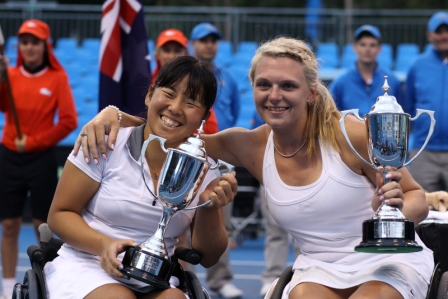 Yui Kamiji and Jordanne Whiley took the women's doubles title at the Australian Open in Melbourne ©Takeo Tanuma