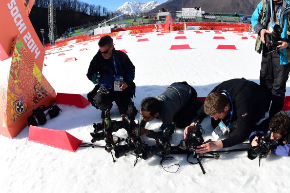 A nice photo here of photographers setting up their equipment ahead of the cross country finale of the Nordic Combined ©AFP/Getty Images