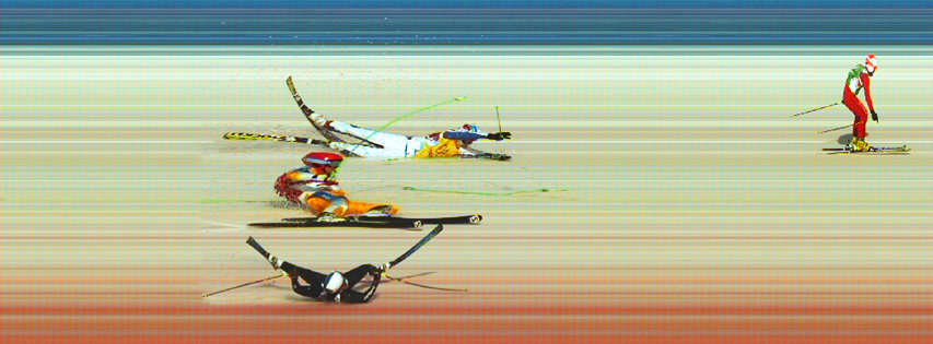 A photo finish from the men's ski cross quarter-finals yesterday ©Sochi 2014