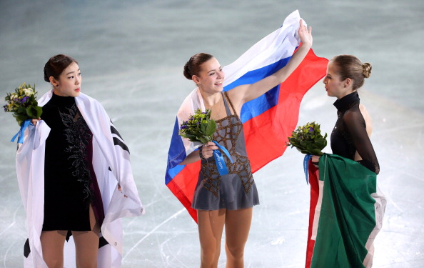 Adelina Sotnikova celebrates gold for Russia in f                 </div>                                      <!-- The Gallery as lightbox dialog, should be a child element of the document body --> <div class=