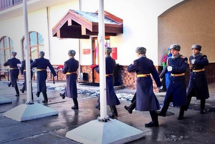 Athletes from Mongolia and New Zealand are the first to be welcomed into the Olympic Village with a Guard of Honour this morning ©Sochi 2014