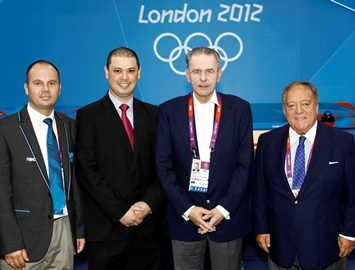 Atiila Adamfi (left) has participated in five Summer Olympic Games as advisor for the IWF before taking over the technical delegate responsibilities for two other Summer Olympics ©IWF