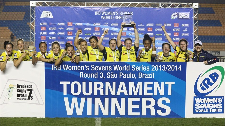 Australia have won the third round of the IRB Women's Rugby Sevens World Series in São Paulo ©Joao Neto/IRB