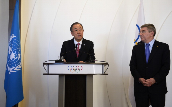 UN secretary-general Ban Ki Moon gave the opening address at the IOC Session ©Getty Images