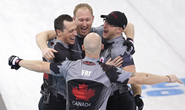 Canada celebrate beating Great Britain to win the curling gold medal ©Toronto Star/Getty Images