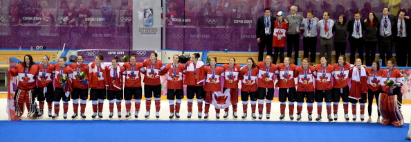 Canada celebrate their fourth successive ice hockey win last night over arch-rivals the US ©McClatchy-Tribune/Getty Images