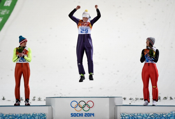 Carina Vogt completed a giant leap for ski jumping by winning the first Olympic gold medal ©Getty Images