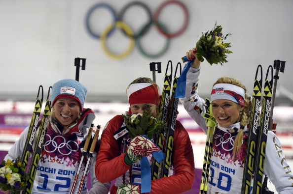 Darya Domracheva of Belarus becomes the first triple gold medal winner of Sochi 2014 ©Getty Images